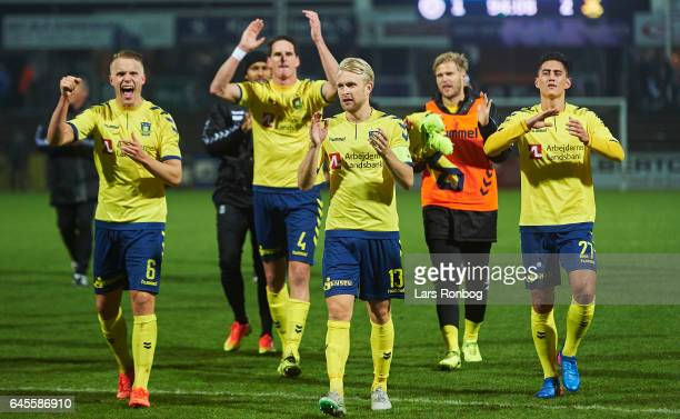 Hjortur Hermannsson Benedikt Rocker Johan Larsson Paulus Arajuuri and Svenn Crone of Brondby IF celebratesafter the Danish Alka Superliga match match...