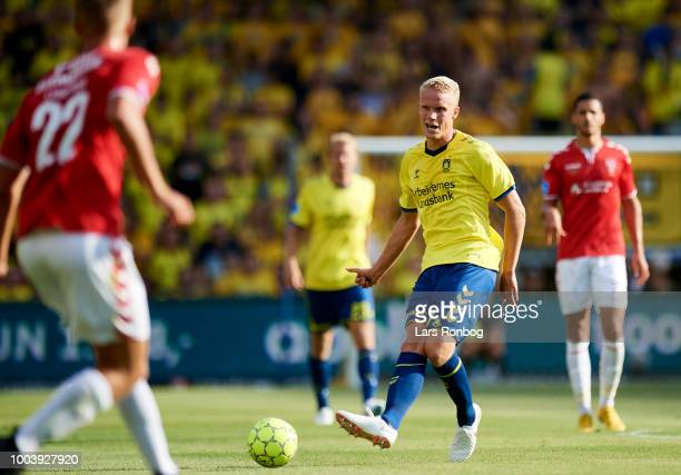 Hjortur Hermannsson of Brondby IF in action during the Danish Superliga match between Brondby IF and Vejle Boldklub at Brondby Stadion on July 22...