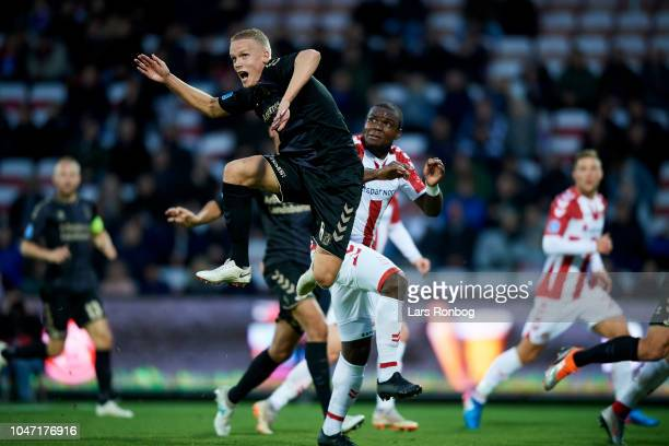 Hjortur Hermannsson of Brondby IF in action during the Danish Superliga match between AaB Aalborg and Brondby IF at Aalborg Portland Park on October...