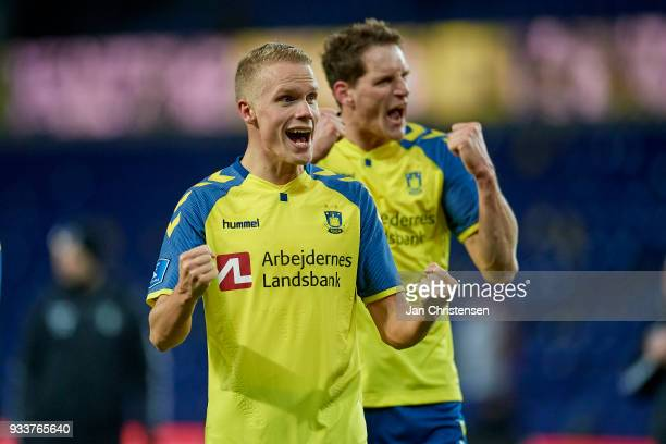 Hjötur Hermannsson of Brondby IF and Benedikt Röcker of Brondby IF celebrate after the Danish Alka Superliga match between Brondby IF and Hobro IK at...