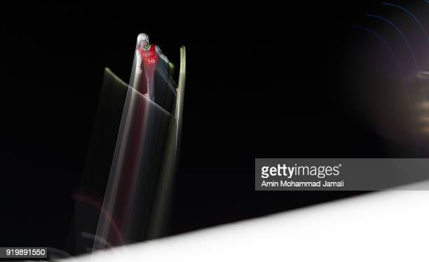 Hlava Lukas of Czech Republic makes a jump during the Ski Jumping Men's Large Hill on day nine of the PyeongChang 2018 Winter Olympic Games at...
