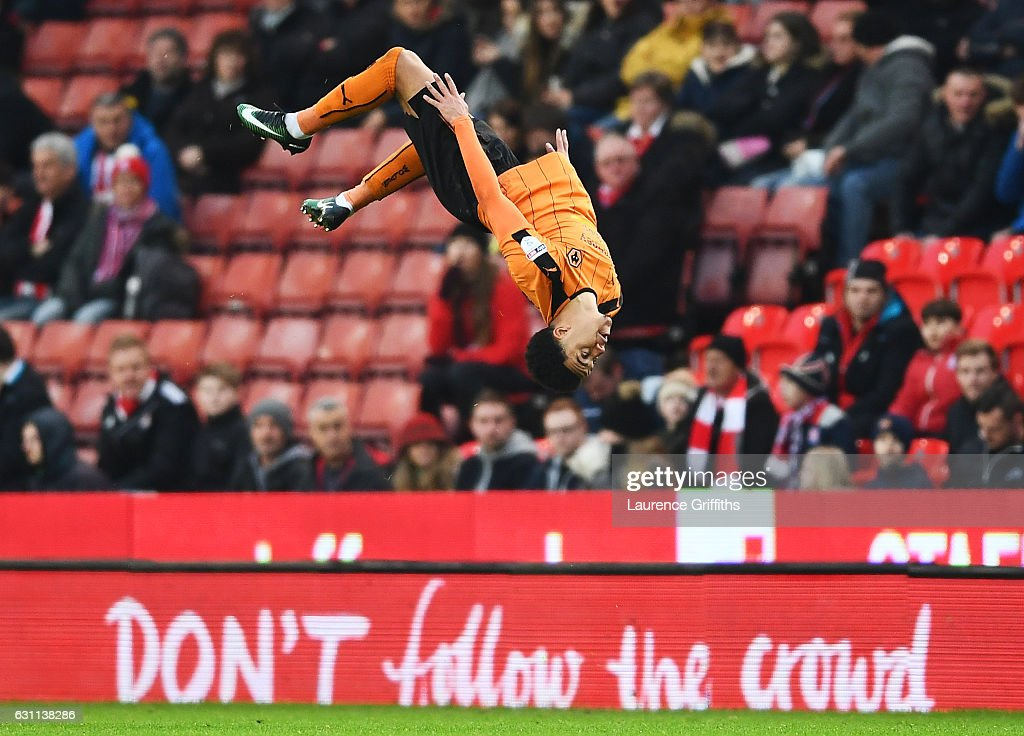 Hélder Costa of Wolverhampton Wanderers celebrates after scoring his sides first goal during The Emirates FA Cup Third Round match between Stoke City and Wolverhampton Wanderers at Bet365 Stadium on January 7, 2017 in Stoke on Trent, England.