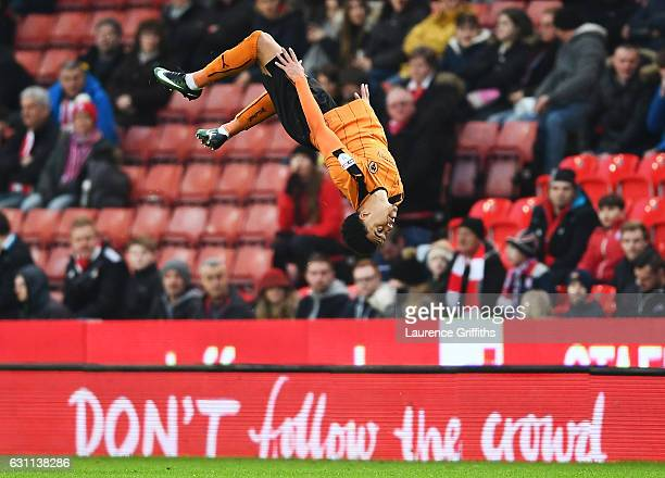 Hélder Costa of Wolverhampton Wanderers celebrates after scoring his sides first goal during The Emirates FA Cup Third Round match between Stoke City...