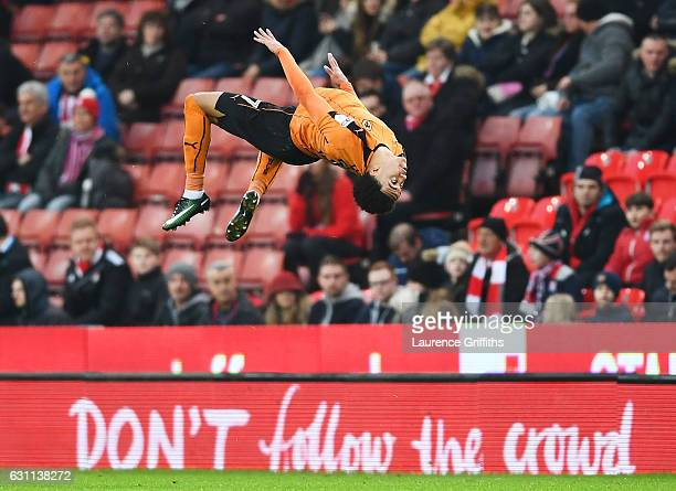 Hélder Costa of Wolverhampton Wanderers celebrates with team mates after scoring his sides first goal during The Emirates FA Cup Third Round match...
