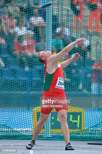 Hleb Zhuk from Belarus competes in men's discus throw during the IAAF World U20 Championships at the Zawisza Stadium on July 24 2016 in Bydgoszcz...