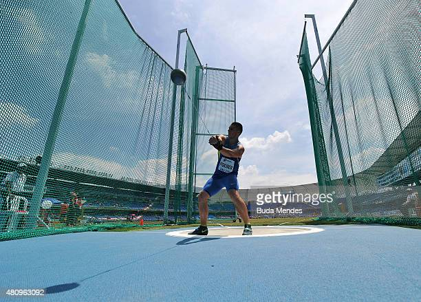Hlib Piskunov of the Ukraine in action during qualification for the Boys 5kg Hammer Throw on day two of the IAAF World Youth Championships Cali 2015...