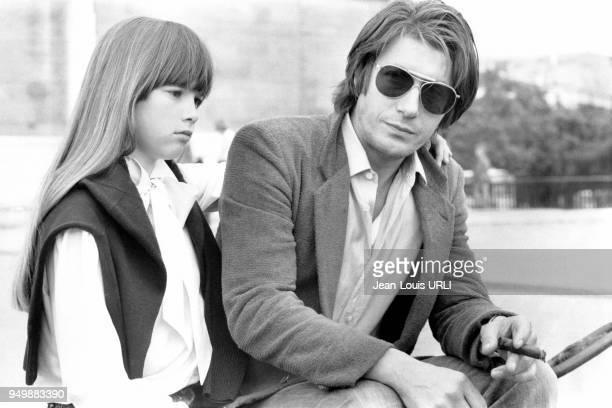Hélène Rollès et Jacques Dutronc sur le tournage du film 'Le Mouton noir' de JeanPierre Moscardo le 3 juillet 1979 à Paris France