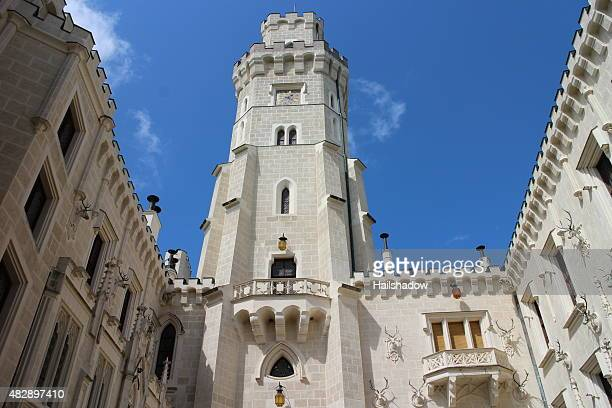 hluboka castle architecture details - czech hunters stock pictures, royalty-free photos & images