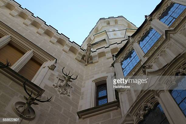 hluboka castle architecture facade closeup - czech hunters stock pictures, royalty-free photos & images