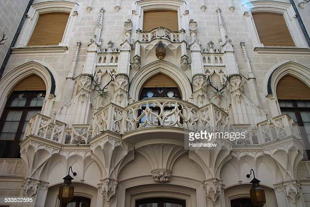 hluboka castle courtyard balcony - czech hunters stock pictures, royalty-free photos & images