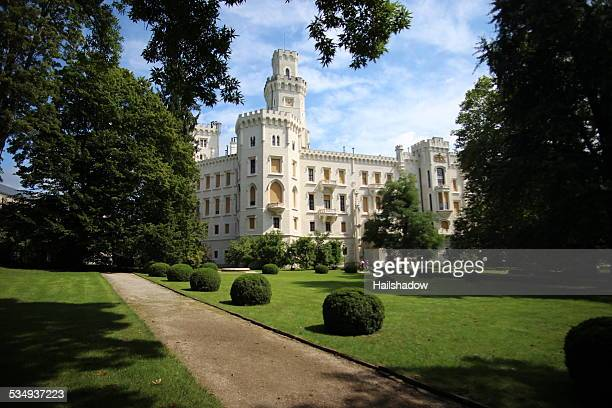 hluboka castle garden - windsor england stock photos and pictures