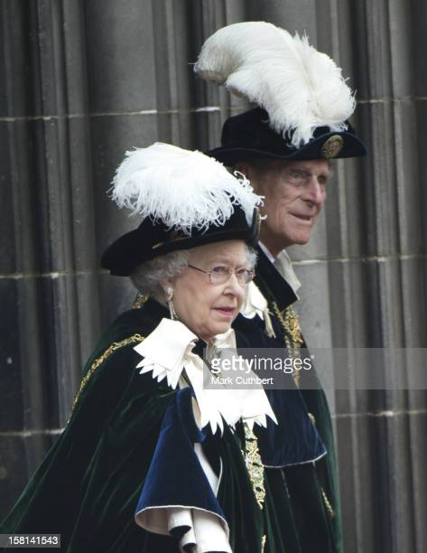 Hm Queen Elizabeth Ll And Duke Of Edinburgh Attend The Thistle Service At St Giles' Cathedral Edinburgh For The Installation Of Prince William As A...