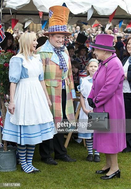 Hm Queen Elizabeth Ll And Duke Of Edinburgh Visit Sherborne Abbey And Visit A Mad Hatters Tea Party Attended By Local School Children Complete With...