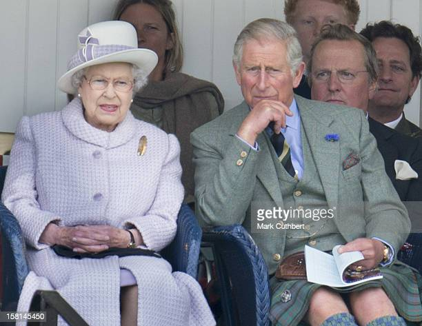 Hm Queen Elizabeth Ll And Prince Charles At The Braemar Gathering In The Princess Royal And Duke Of Fife Memorial Park In Braemar
