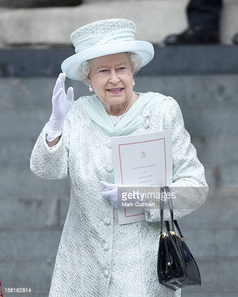 Hm Queen Elizabeth Ll Attending A National Service Of Thanksgiving At St Paul's Cathedral In London As Part Of The Diamond Jubilee Celebrations