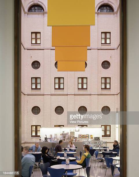Hm Treasury, London, United Kingdom, Architect Degw, Hm Treasury View Of Cafe With Yellow Banners
