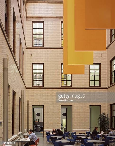 Hm Treasury, London, United Kingdom, Architect Foster And Partners Hm Treasury Cafe With View To Adjacent Courtyard: Banners By Per Arnoldi