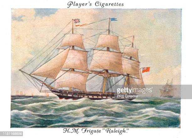 """Frigate """"Raleigh"""", 1936. Cigarette Card No.23 of a series of 25 Old Naval Prints Issued by John Player & Sons. Artist Unknown."""