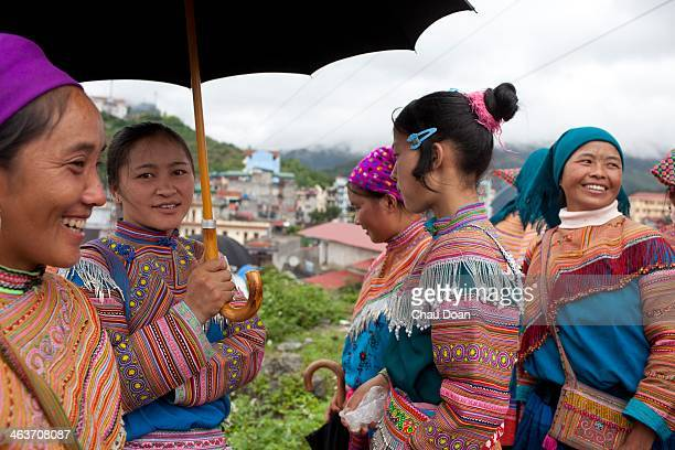 Hmong ethic minority girls at Bac Ha market which is about 320 kilometers north of Hanoi