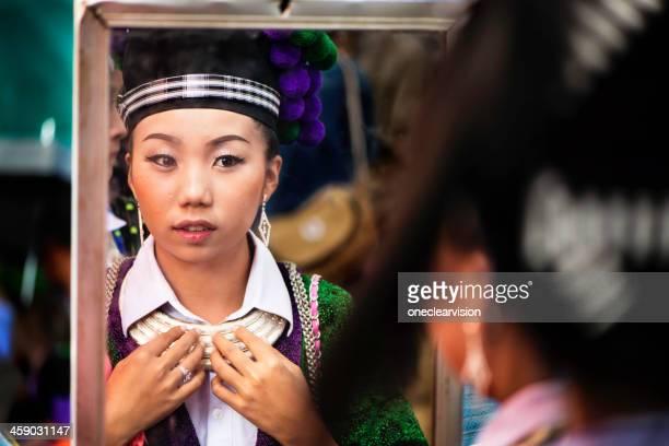 Hmong Girl and Mirror