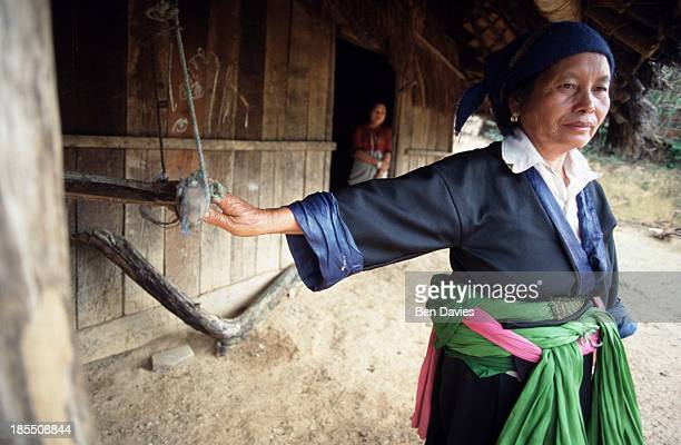 Hmong woman stands outside the village of Ban Tha Joh near Phonsavan in Northern Laos. The Hmong generally live high up in the mountains and can be...