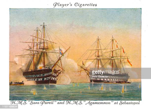 HMSSans Parieland HMSAgamemnon at Sebastopol 1936 Cigarette Card No24 of a series of 25 Old Naval Prints Issued by John Player Sons Artist Unknown