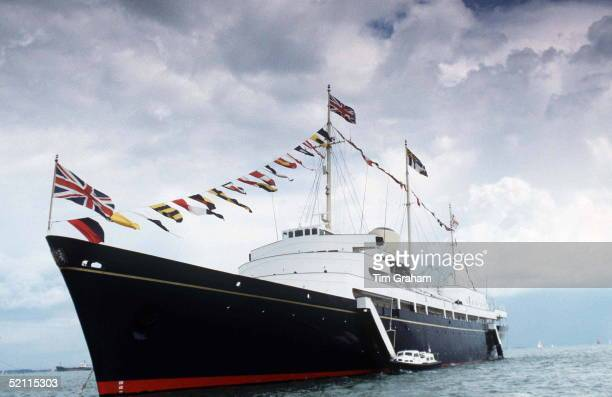 Hmy Britannia At Sea With Union Jack Flags As Bunting And Royal Standardscirca 1990s