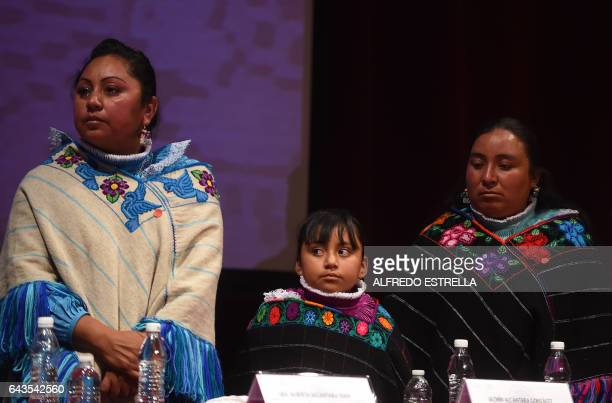 Hnahnu indigenous women Alberta Alcantara , Jazmin Alcantara and Teresa Gonzalez attend the act of recognition of innocence and public apology of the...
