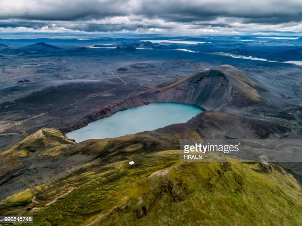 hnausapollur, volcanic crater lake in highlands of iceland - caldera stock pictures, royalty-free photos & images