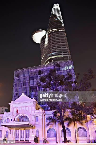 Ho Chi Minh City centre illuminated at night