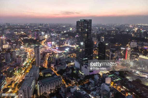 Ho Chi Minh City cityscape at night in Vietnam