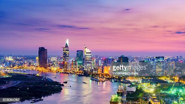 Ho Chi Minh City Finance District on Saigon River at sunrise