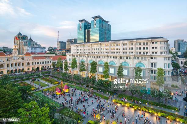 ho chi minh city nguyen hue pedestrian street in lunar new year festival - ho chi minh city stock pictures, royalty-free photos & images
