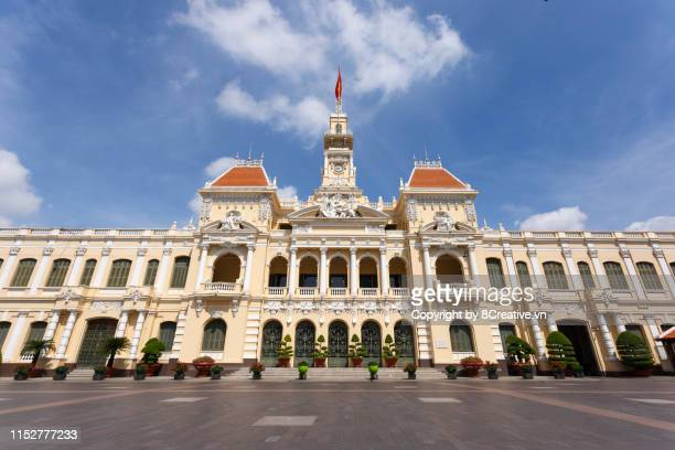 sai gon, vietnam - september 22, 2018: ho chi minh city people's committee (saigon, sai gon) headquarters is one of the projects that are always in the list of outstanding destinations attracting tourists in saigon. - people's committee building ho chi minh city stock pictures, royalty-free photos & images