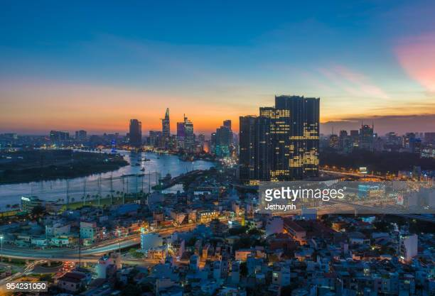 ho chi minh city saigon finance district and riverside view from thu thiem 2018 - saigon river stock pictures, royalty-free photos & images