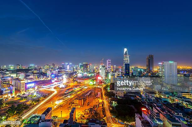 Ho Chi Minh city skyline at blue hour