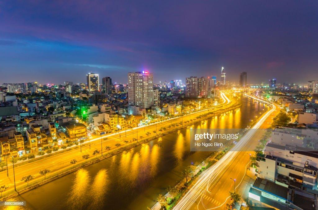 Ho Chi Minh City Skyline at night : Stock Photo