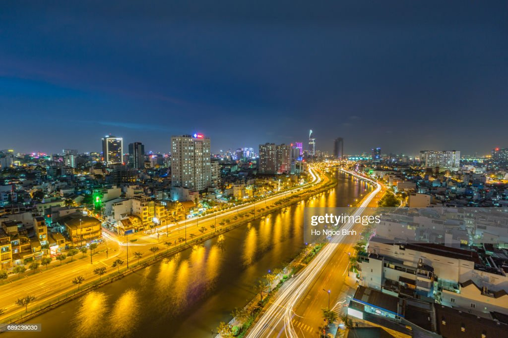 Ho Chi Minh City Skyline at night : Stock Photo