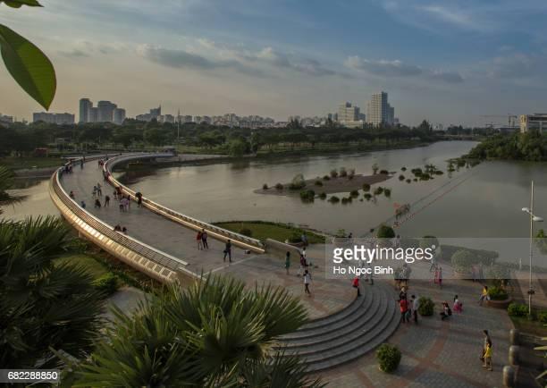 Ho Chi Minh city skyline at sunset
