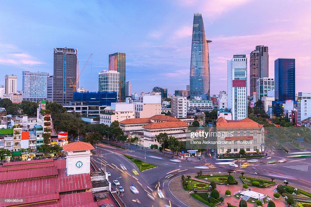 Ho Chi Minh City skyline at sunset, Vietnam : Stock Photo