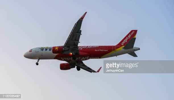 Ho Chi Minh, Vietnam - 24 Frebuary, 2019 :  Vietjetair airplane fly against the sky