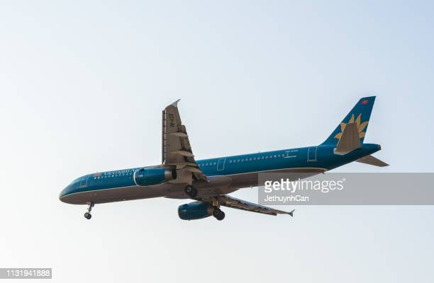 Ho Chi Minh, Vietnam - 24 Frebuary, 2019 :  Vietnamairlines airplanes fly against the sky