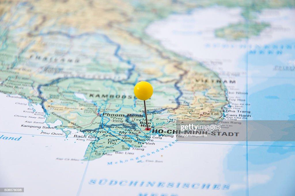 Ho-Chi-Minh-Stadt, Vietnam, gelben Polig, Nahaufnahme der Karte. : Stock-Foto