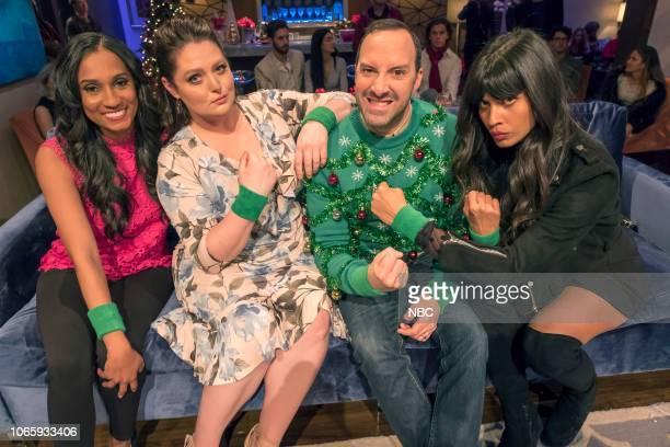 "Ho Ho Holiday Game Night"" -- Pictured: Dana Smith, Lauren Ash, Tony Hale, Jameela Jamil --"