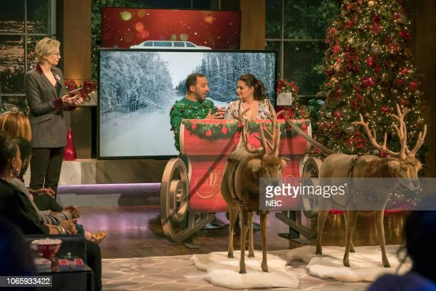 """Ho Ho Holiday Game Night"""" -- Pictured: Jane Lynch, Tony Hale, Lauren Ash --"""