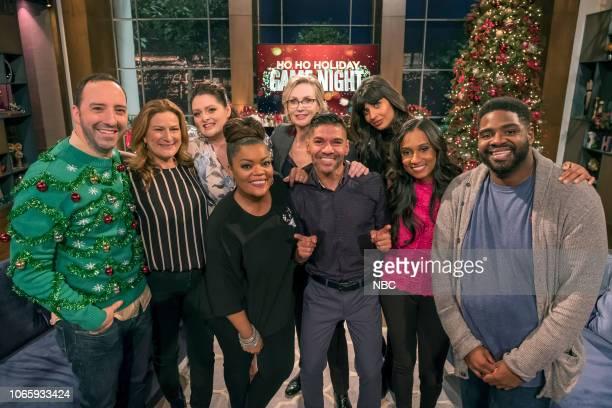 "Ho Ho Holiday Game Night"" -- Pictured: Tony Hale, Ana Gasteyer, Lauren Ash, Yvette Nicole Brown, Jane Lynch, JR Jaquay, Jameela Jamil, Dana Smith,..."