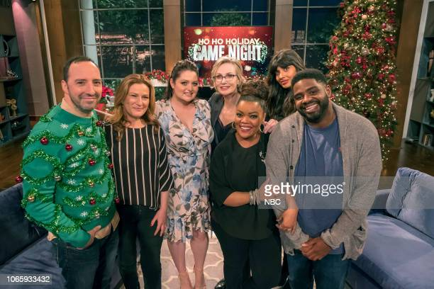 """Ho Ho Holiday Game Night"""" -- Pictured: Tony Hale, Ana Gasteyer, Lauren Ash, Jane Lynch, Yvette Nicole Brown, Jameela Jamil, Ron Funches --"""
