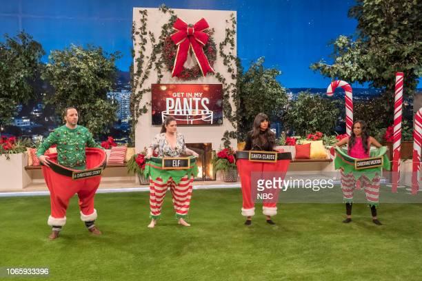 "Ho Ho Holiday Game Night"" -- Pictured: Tony Hale, Lauren Ash, Jameela Jamil, Dana Smith --"