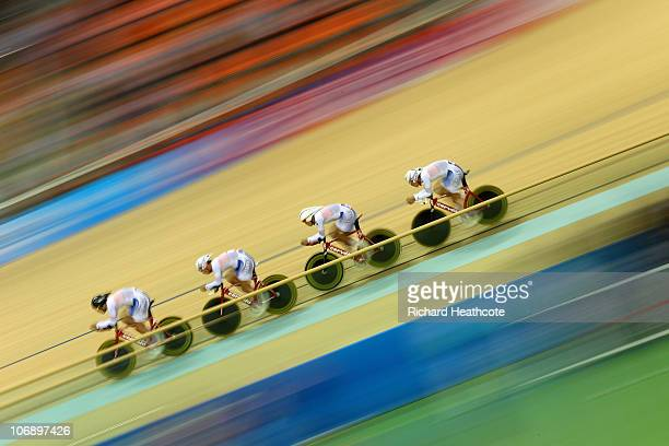 Ho Sung Cho, Inhyeok Hwang, Sunjae Jang and Seon Ho Park of South Korea competes in the Men's Team Pursuit Final Track Cycling during day four of the...
