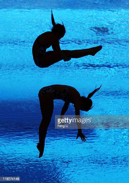 Ho Wing Ngai and Sharon Chan of Hong Kong China compete in the Women's 3m Springboard Synchro preliminary round during Day One of the 14th FINA World...
